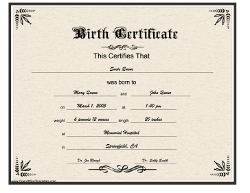 fake birth certificate template free - birth certificate gothic lettering openoffice template