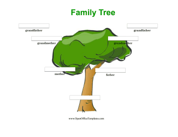Colorful 3 Generation Family Tree - OpenOffice template