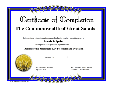 completion certificate openoffice template