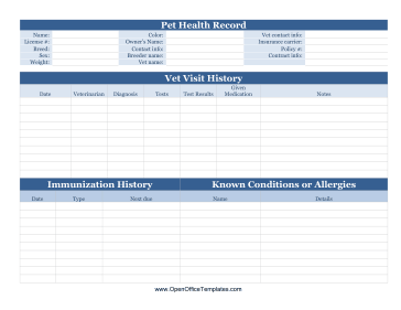 Pet health record openoffice template for Dog health record template