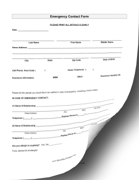 emergency contact form word doc