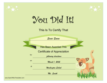 Stuffed animal certificate openoffice template for Open office certificate templates free